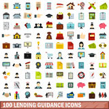 100 lending guidance icons set, flat style Stock Photos