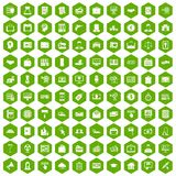 100 lending icons hexagon green. 100 lending icons set in green hexagon isolated vector illustration Stock Photography