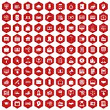 100 lending icons hexagon red. 100 lending icons set in red hexagon isolated vector illustration Stock Photography