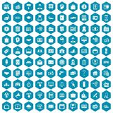 100 lending icons sapphirine violet. 100 lending icons set in sapphirine hexagon isolated vector illustration Royalty Free Stock Image