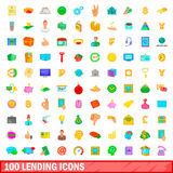 100 lending icons set, cartoon style. 100 lending icons set in cartoon style for any design illustration Stock Photos