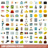 100 lending icons set, flat style. 100 lending icons set in flat style for any design vector illustration vector illustration