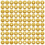 100 lending icons set gold. 100 lending icons set in gold circle isolated on white vectr illustration stock illustration