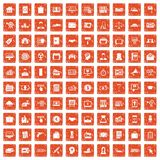 100 lending icons set grunge orange. 100 lending icons set in grunge style orange color isolated on white background vector illustration stock illustration