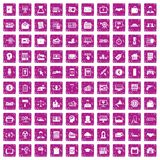 100 lending icons set grunge pink. 100 lending icons set in grunge style pink color isolated on white background vector illustration Stock Photos