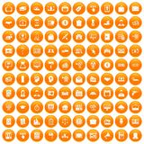 100 lending icons set orange. 100 lending icons set in orange circle isolated vector illustration vector illustration