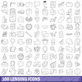 100 lending icons set, outline style. 100 lending icons set in outline style for any design vector illustration Stock Photography