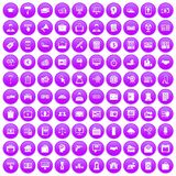 100 lending icons set purple. 100 lending icons set in purple circle isolated vector illustration Royalty Free Stock Image