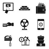 Lending icons set, simple style. Lending icons set. Simple set of 9 lending vector icons for web isolated on white background Royalty Free Stock Images