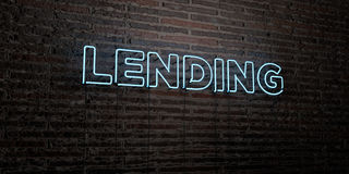 LENDING -Realistic Neon Sign on Brick Wall background - 3D rendered royalty free stock image. Can be used for online banner ads and direct mailers Stock Images