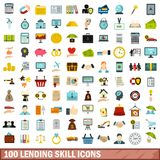 100 lending skill icons set, flat style. 100 lending skill icons set in flat style for any design vector illustration stock illustration