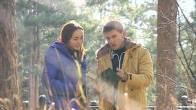 Lendo um livro na floresta vídeos de arquivo