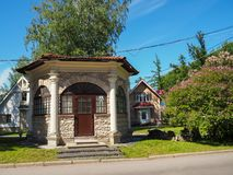 Lenexpo陈列复合体的疆土的美丽的石房子在圣彼德堡,俄罗斯 库存照片