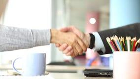 Lengte van tweepersoons het schudden handen die een overeenkomst besluiten stock videobeelden