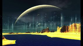Lengte - vreemd rotsachtig landschap Kosmische ruimte stock illustratie