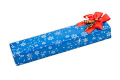 Length blue gift box Royalty Free Stock Photo