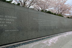Length of granite wall with words of Martin Luther King, Washington, DC, 2017 Royalty Free Stock Photos