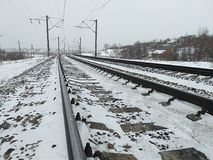 The length of the railway track royalty free stock photography