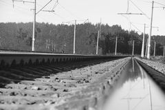 The length of the railway track Stock Photos
