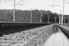 The length of the railway track Stock Photos