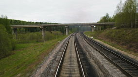 The length of the railway track stock footage