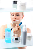 Lengthening mascara waterproof - woman choosing mascara Stock Photos