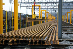 Lengths of steel railway line. Stock Image