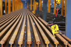 Lengths of steel railway line. Royalty Free Stock Photography
