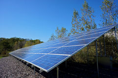 Lengthy Solar Panel. View looking toward the vanishing point of a long rectangular industrial solar panel Stock Image
