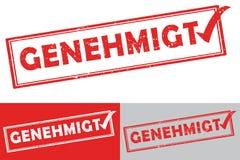 Lengua alemana aprobada: Sello de goma de Genehmigt stock de ilustración