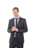 Lenguaje corporal hombre en blanco aislado traje de negocios imagen de archivo