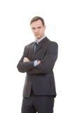 Lenguaje corporal hombre en blanco aislado traje de negocios foto de archivo