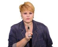 Lenguaje corporal maduro de la mujer - advertencia enojada Fotografía de archivo libre de regalías