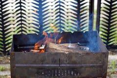 Lenha ardente em um soldador Imagem de Stock