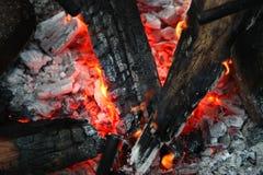 Lenha ardente no fim da chaminé acima Fotografia de Stock Royalty Free