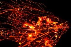 Lenha ardente no fim da chaminé acima Imagem de Stock