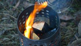 Lenha de queimadura, um fogo no queimador do acampamento vídeos de arquivo