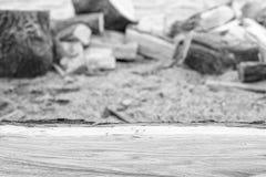 Lenha do carvalho na frente do fundo obscuro com espaço da cópia, tom preto e branco Fotografia de Stock Royalty Free