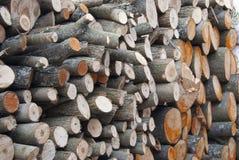 A lenha do Woodpile, empilhada com círculos encontra-se uma grande pilha fotografia de stock royalty free