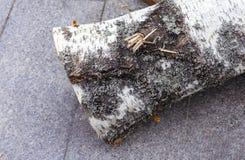Lenha empilhada como o fundo, close up Casa de aquecimento no inverno foto de stock