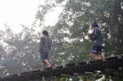 Lenha levando dos povos tailandeses que anda na ponte de madeira da suspensão Foto de Stock
