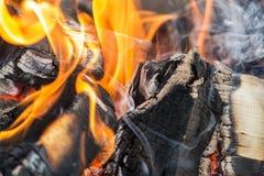 Lenha no close up do fogo Fotografia de Stock