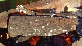 Lenha que queima-se no soldador fora video estoque