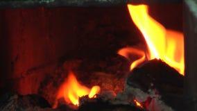 A lenha queima-se para baixo na fornalha video estoque