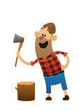 Lenhador alegre com um machado e um log Imagens de Stock