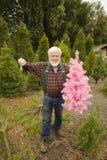 Lenhador com a árvore de Natal cor-de-rosa Fotos de Stock