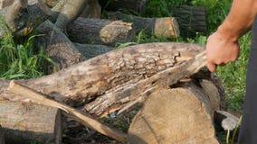 Lenhador do homem que desbasta a madeira com um machado velho do ferro do vintage Madeira cortada manual filme