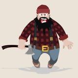 Lenhador gritando do homem dos desenhos animados com um machado Imagem de Stock