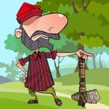 Lenhador irritado dos desenhos animados orgulhosos com um machado de pedra Foto de Stock