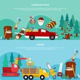 Lenhador liso Banner Set ilustração stock